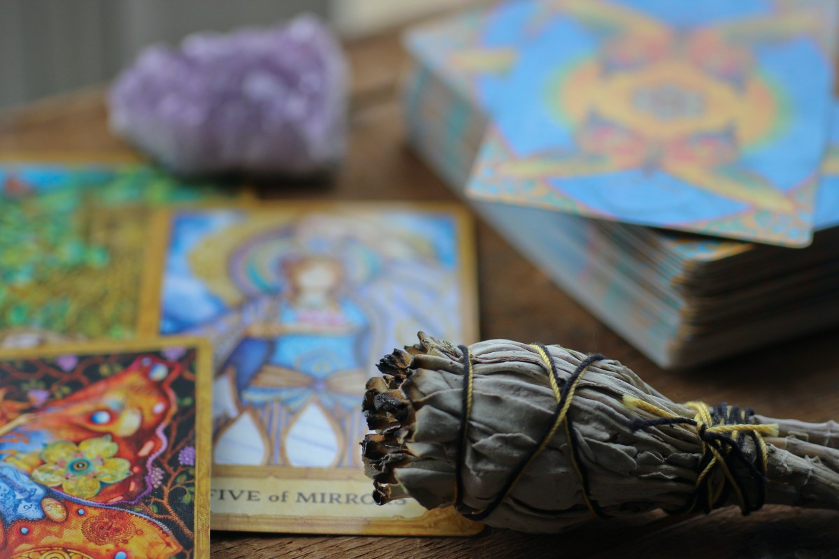 Chrysalis tarot with sage smudge stick and amethyst